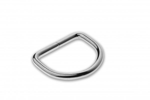 D-Ring, welded, chrome plated, silver, 26 x 3.8 mm