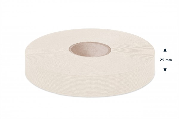 Sustainable elastic made of cotton, off-white, 25 mm