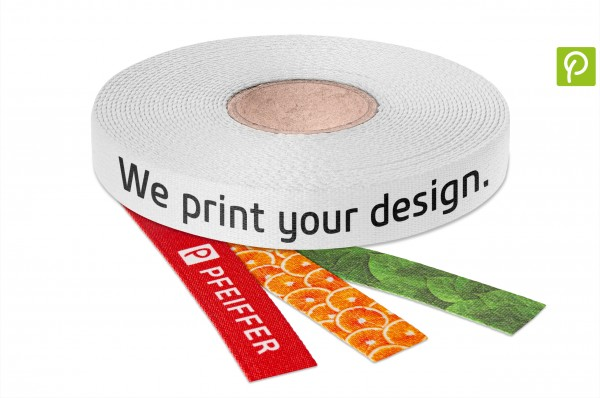 Webbing made of recycled PET & cotton, printed with your design