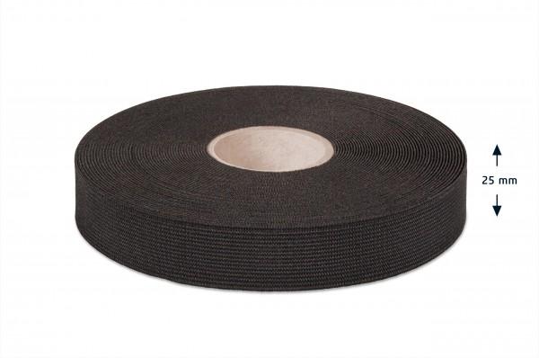 High quality elastic webbing, black, 25 mm