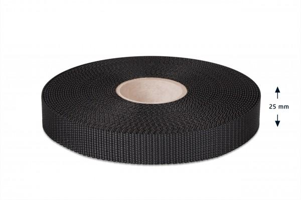 PES narrow fabric, UV stable, black, 25 mm