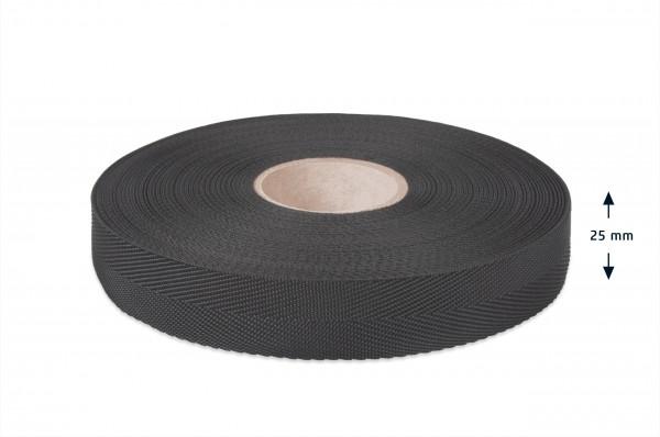 Econyl® herringbone binding recycled, black, 25 mm