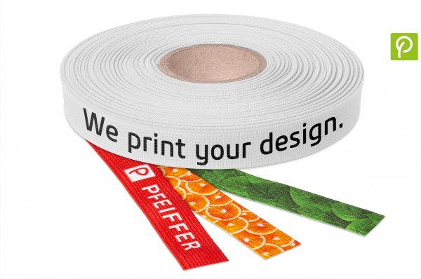 Elastic webbing made from recycled plastic bottles, printed
