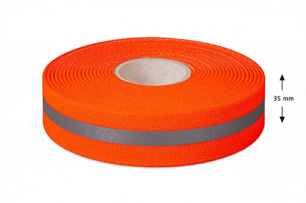 Elastic warning tape, 35 mm, with reflective stripes
