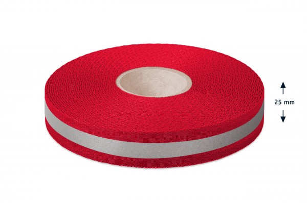 Econyl® webbing, recycled, reflective, red 421, 25 mm