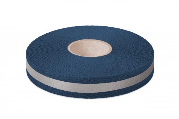 Econyl® webbing, recycled, reflective, navy 523, 25 mm