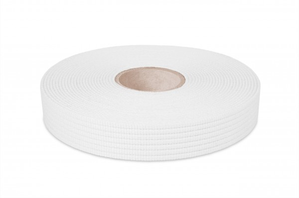 Cotton webbing, width 30 mm, col. white