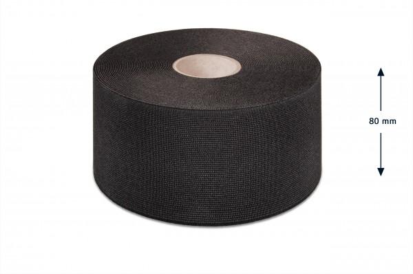 Wide elastic webbing, black, 80 mm