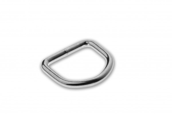 D-Ring, welded, chrome plated, silver, 20 x 3.4 mm