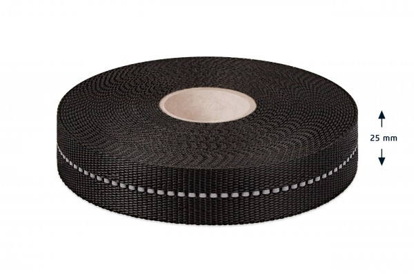 PP webbing, non-elastic, with reflective stripes, 25mm