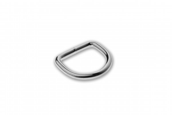 D-Ring, welded, chrome plated, silver, 16 x 2.6 mm