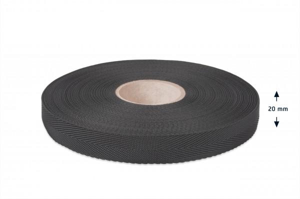 Econyl® herringbone binding recycled, black, 20 mm