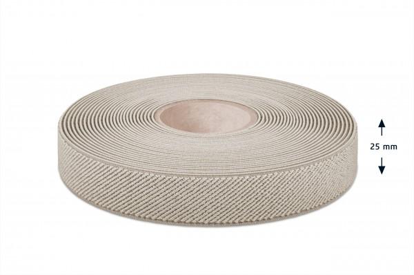 Elastic narrow fabric, beige, 25 mm