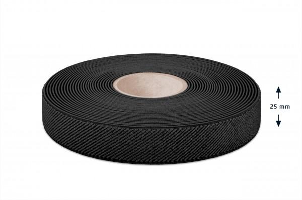 Elastic narrow fabric, black, 25 mm