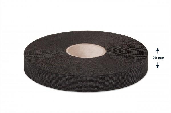 High quality elastic webbing, black, 20 mm