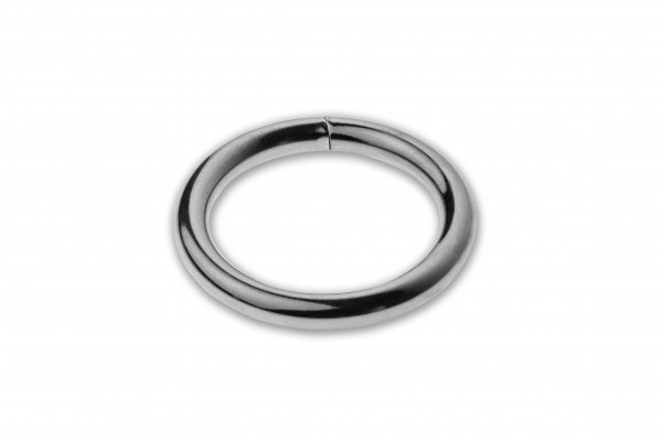 Ring, welded, chrome plated, silver, 32 x 5.0 mm