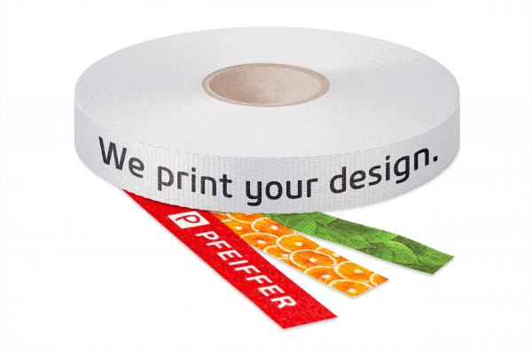 Gros grain ribbon made from recycled plastic bottles, printed