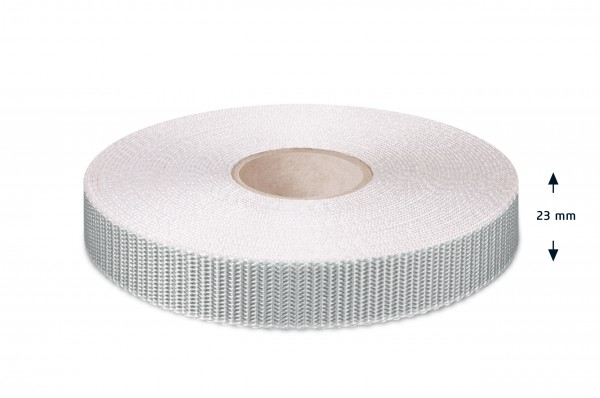 Narrow fabric for roller shutters, silver-white, 23 mm