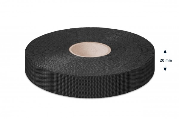 Non-elastic pp binding, black, 20 mm